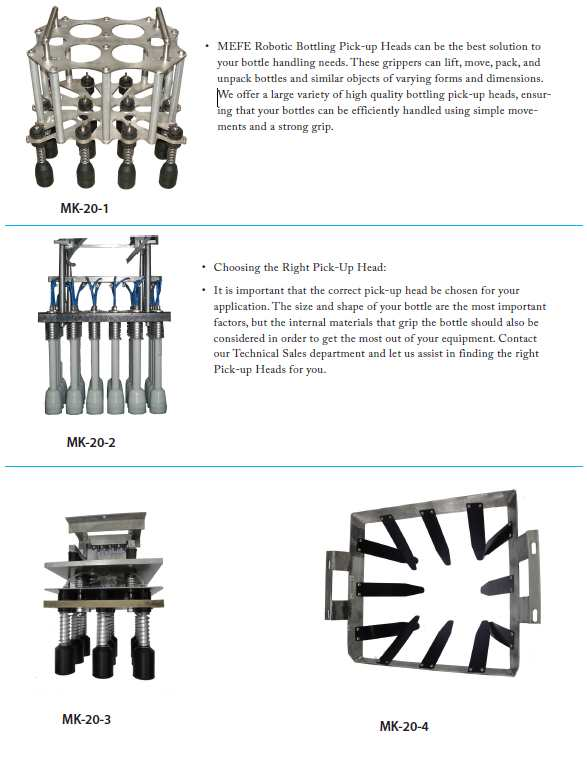 Robotic Bottling Pick-up Heads,Bottle Grippers Lifting Heads